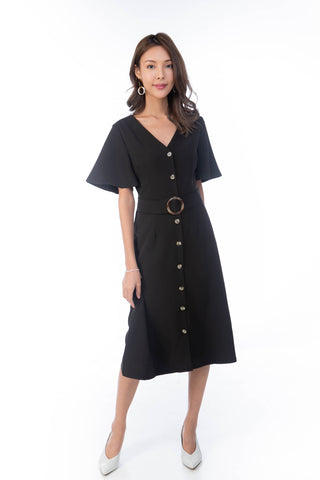 Cara Flutter Sleeved Button Midi in Black