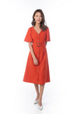 Cara Flutter Sleeved Button Midi in Rust