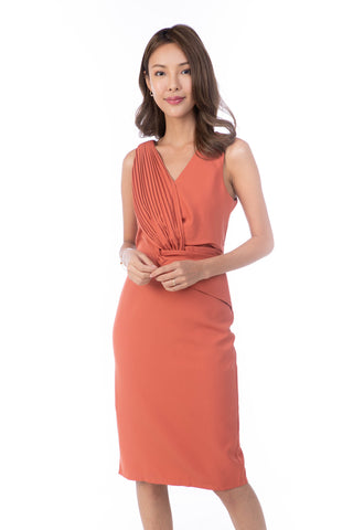 Jules Pleated front Shealth Midi in Salmon