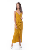 Jaime Pleated Ruffle Maxi in Mustard