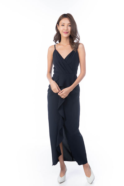 Jaime Pleated Ruffle Maxi in Midnight Blue