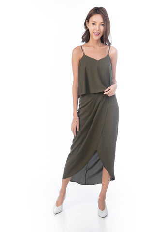 Amanda Crop Top Drape Maxi in Olive