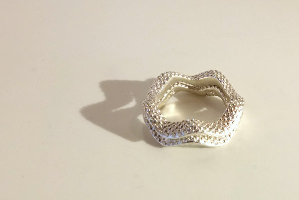500 hearts ring in silver