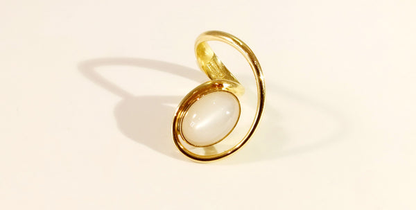 Leaning Over ring with moonstone