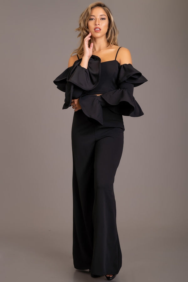 RUFFLED SLEEVE PANT SUIT