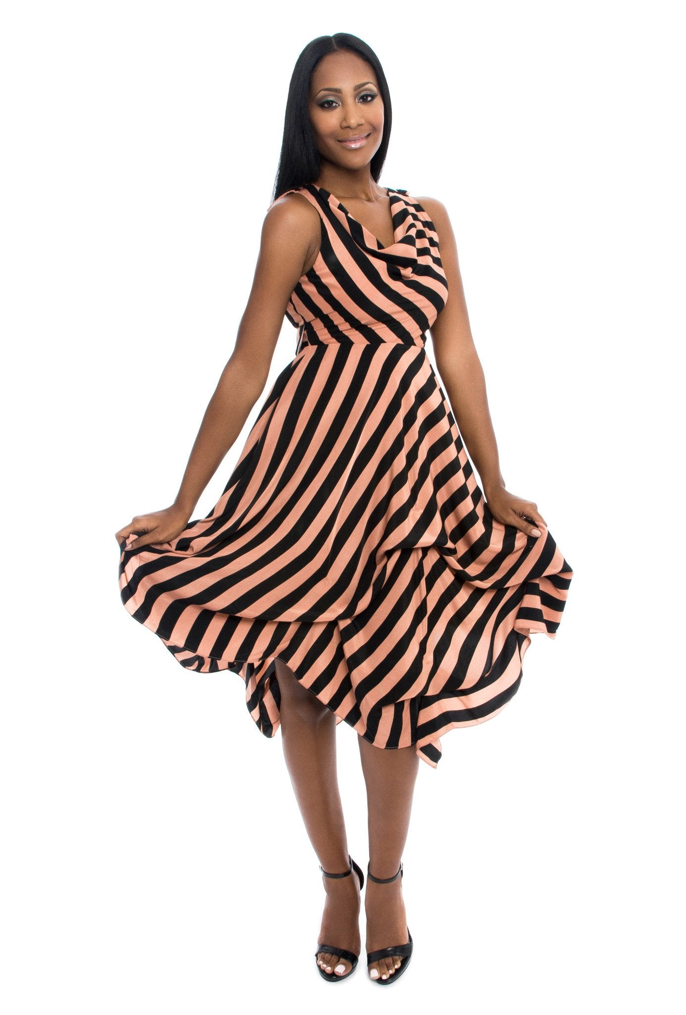 ACCORDION DRAPED COCKTAIL DRESS