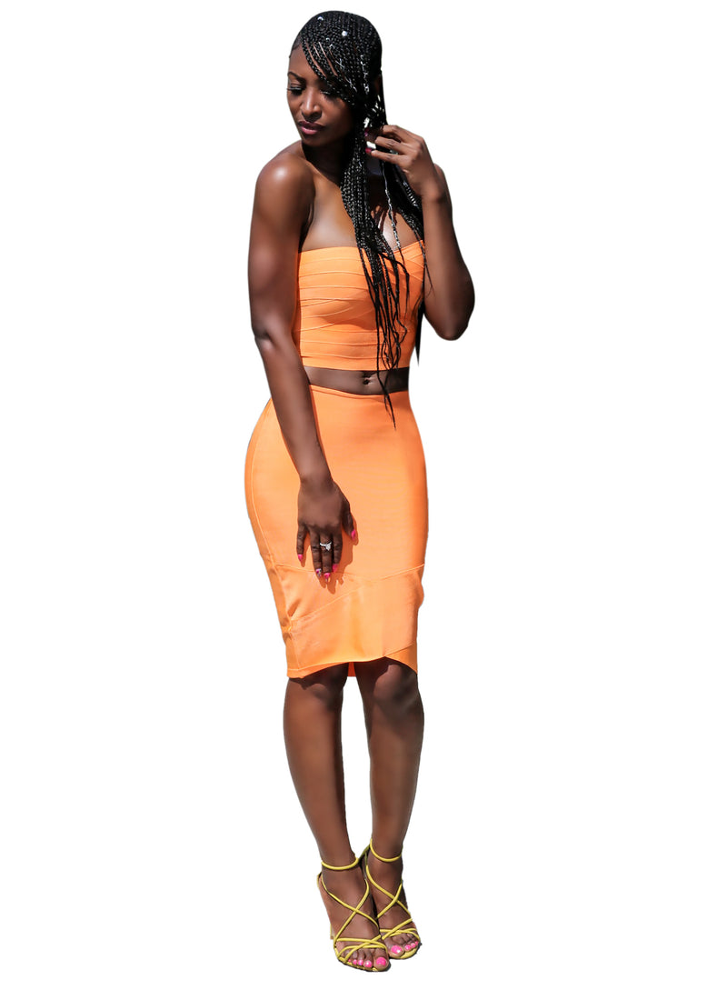 ORANGE BANDAGE CROP SET