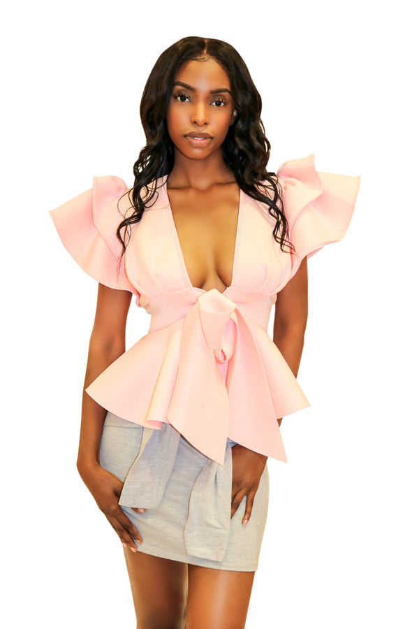 unique tops for women, blouse with ruffles, pink ruffle blouse, tops for women, sexy tops, classy blouse, hot miami styles