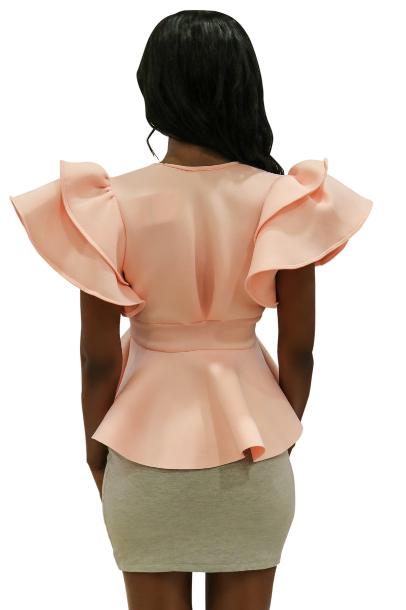 PRETTY IN PEACH RUFFLED TOP