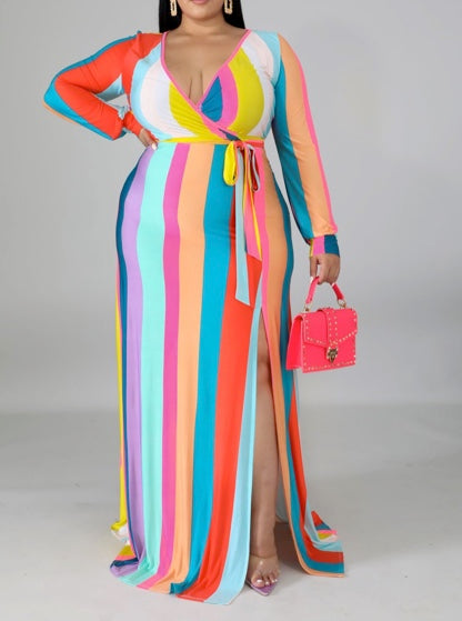 IT'S LOVE STRIPED MAXI DRESS