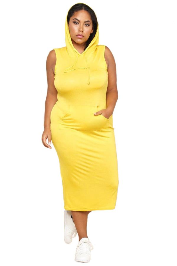 LEMON HOODED AND COMFY DRESS