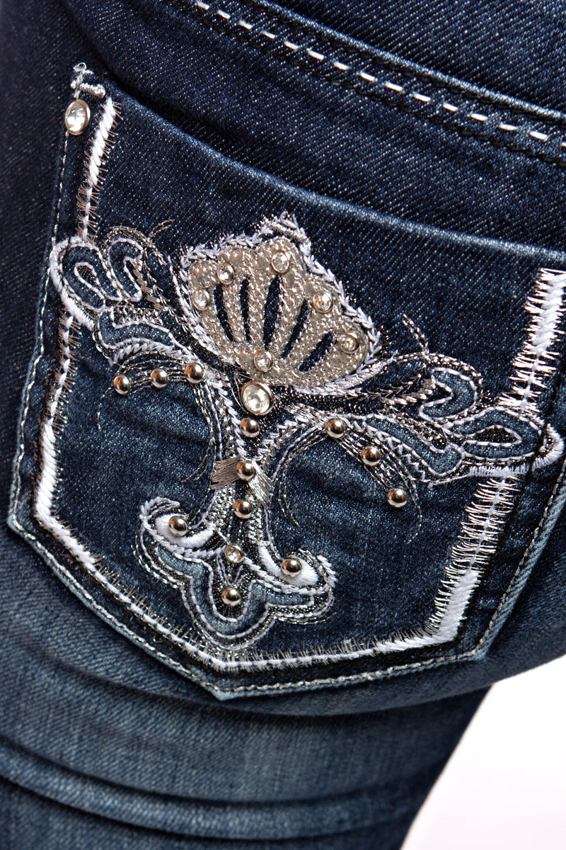 NICHOLE J. FADED EMBELLISHED JEANS