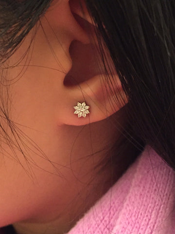 CA Custom 14K Custom Diamond Sunflower Stud Ear Rings
