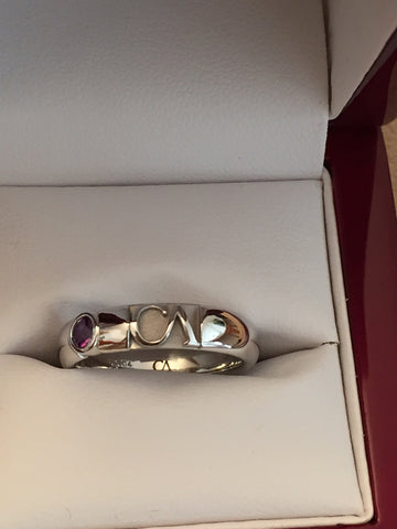 CA 14 Karat White Gold Wicker Park and Amethyst Ring