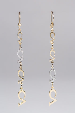 CA 18 Karat Picth Fork White and Yellow Gold with Diamonds Ear Rings