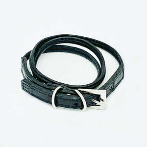 CA Amazon Black Alligator Wrap Buckle Bracelet