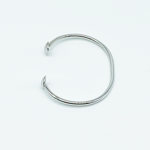 CA Love Custom Initial (Silver-Rhodium white gold) Bangle Bracelet