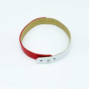 Christopher Augmon Red and White Lambskin Choker and Wrist Wrap