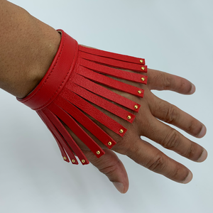 Christopher Augmon Nile Red Studded Fringe lamb skin bracelet with gold studs