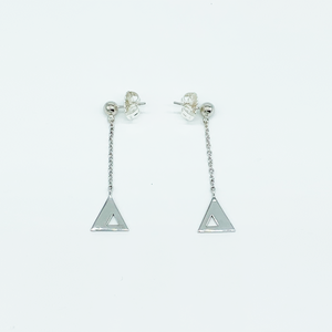 CA Triangle Unity Chandelier Earring (Silver White Gold Plated)