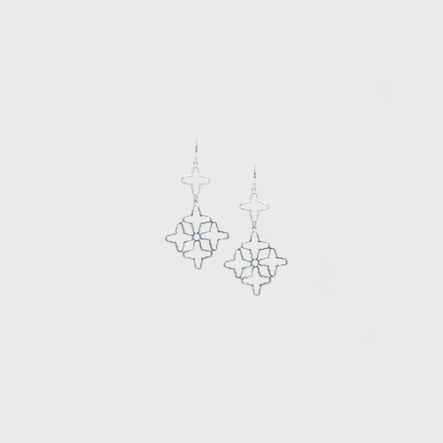 CA Silver (Rhodium-White Gold Plated) 10 Cross Roman Earrings
