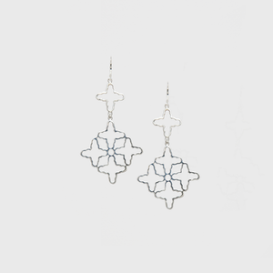 CA Silver 10 Cross Roman Earrings