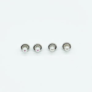 CA Christopher Augmon Akoya Pearl and Diamond Silver Earring Studs