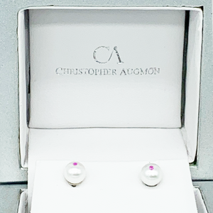CA Christopher Augmon Akoya Pearl and Genuine Red Ruby Earring Studs