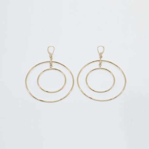 CA 18Karat Yellow Gold Double Hoop Halo Roman Earrings (They move when your not moving :-)