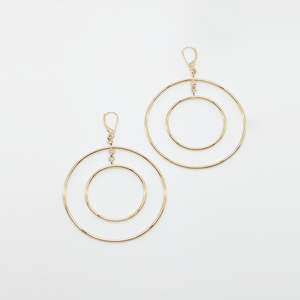 CA 18Karat Yellow Gold Double Hoop Halo Roman Earrings