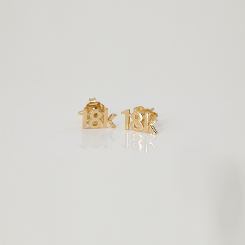 "CA ""18K"" 18 Karat Yellow Gold Stud Earrings"