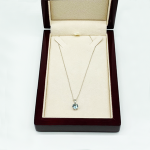 CA Aquamarine Birthstone Pendant Necklace
