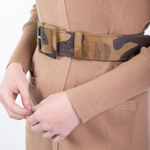 CA Congo Camouflage Italian Leather Couture waist belt