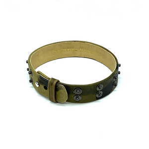 Christopher Augmon Nile Green Camouflage Leather Choker and Wrist Wrap
