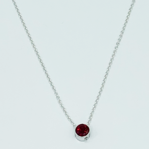 CA Parthenia Silver (Rhodium) white gold plated and CZ Ruby Red Diamond Cut Pendant