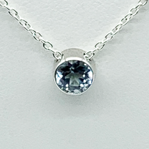 CA Parthenia Silver (Rhodium) White Gold Plated and CZ Aquamarine Diamond Cut Pendant