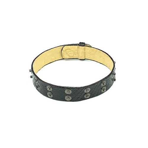 Christopher Augmon Nile Black Python Gunmetal Studded Choker and Wrist Wrap