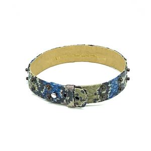 Christopher Augmon Nile Rainbow Water Snake Gunmetal Studded Choker and Wrist Wrap