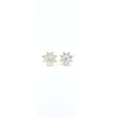 "CA 18 Karat Yellow Gold and Diamond ""Violet Flower"" Stud Earrings"