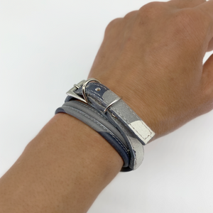 Christopher Augmon Nile Grey Camouflage Leather Choker and Wrist Wrap