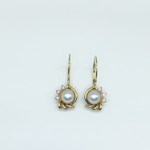 "CA Custom ""SM Heirloom"" Pink Diamond and Akoya Pearl Stem Earrings"