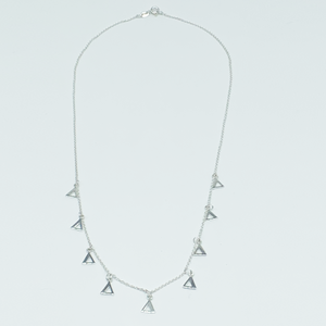 CA Three Triangle Unity Chandelier Earrings and Nine Triangle Necklace Set