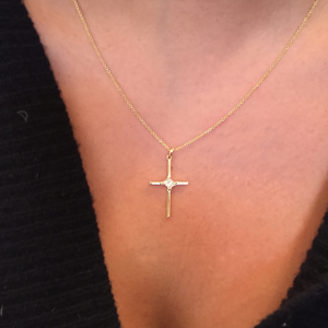 CA-Classic Cross 18 karat Yellow Gold with Princess Cut Diamond Pendant Necklace