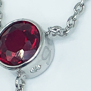 "CA Benita Silver (Rhodium) White Gold Plated and CZ Ruby Red Diamond Cut ""Y"" Pendant Necklace"