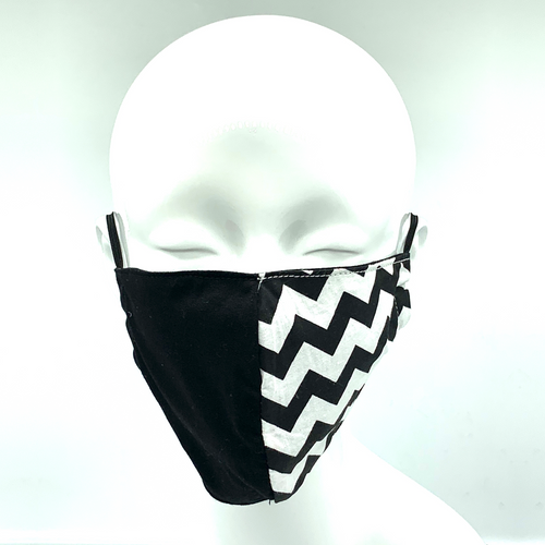 Christopher Augmon CA Black and White  2 Tone Zig Zag Equality Mask (any 4 100% cotton mask for $100; specify type in special instruction)