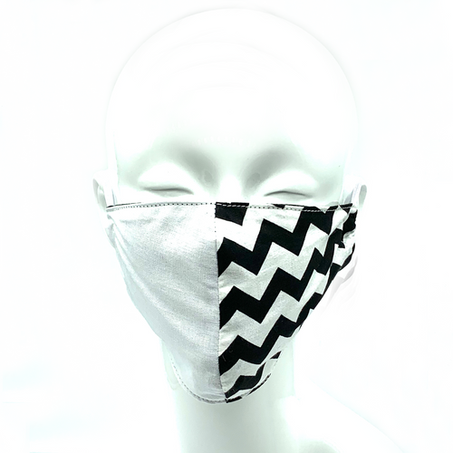 Christopher Augmon CA  White and Black 2 Tone Zig Zag Equality Mask (any 4 100% cotton mask for $100; specify type in special instruction)