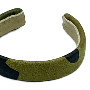 "CA Christopher Augmon Green Camouflage Leather ½"" Cuff"