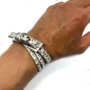 Christopher Augmon Amazon Grey Python Wrap Buckle Bracelet