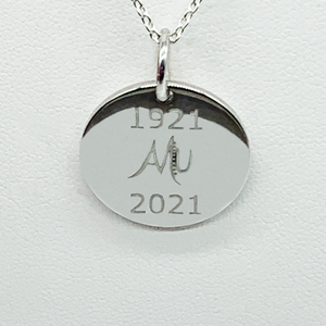 CA Custom 1921-2021  Centennial Celebration D.E. Inspired  Silver Unity Circle Pendant and Mu Elephant (Rhodium white gold plated)  (Rhodium white gold plated)