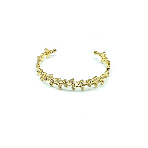 CA 18 Karat Thorn and Flower yellow Gold and Diamonds Bracelet